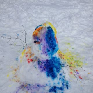 Painting Snowman Rainbow Colors