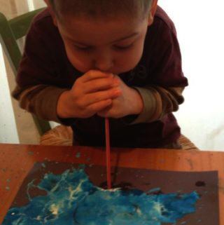 Moon Swirl Art – Blowing Paint with Straw
