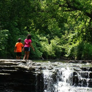 Family Hiking Waterfall Glen Dupage Forest Preserves