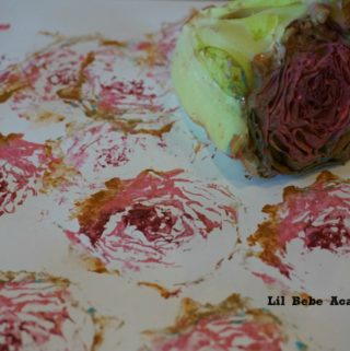 Making Kids Art Paint Stamp with Romaine Lettuce