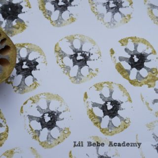 Using Lotus Root Vegetable to Paint Stamp Stencil Kids Art
