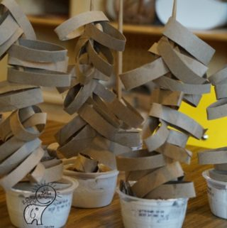 Kids Craft Stacking Strips of Toilet Paper Roll