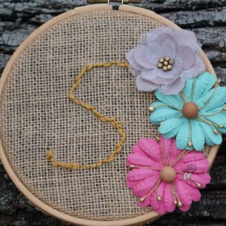 Kids Embroidery Hoop Craft with Burlap and Paper Flowers