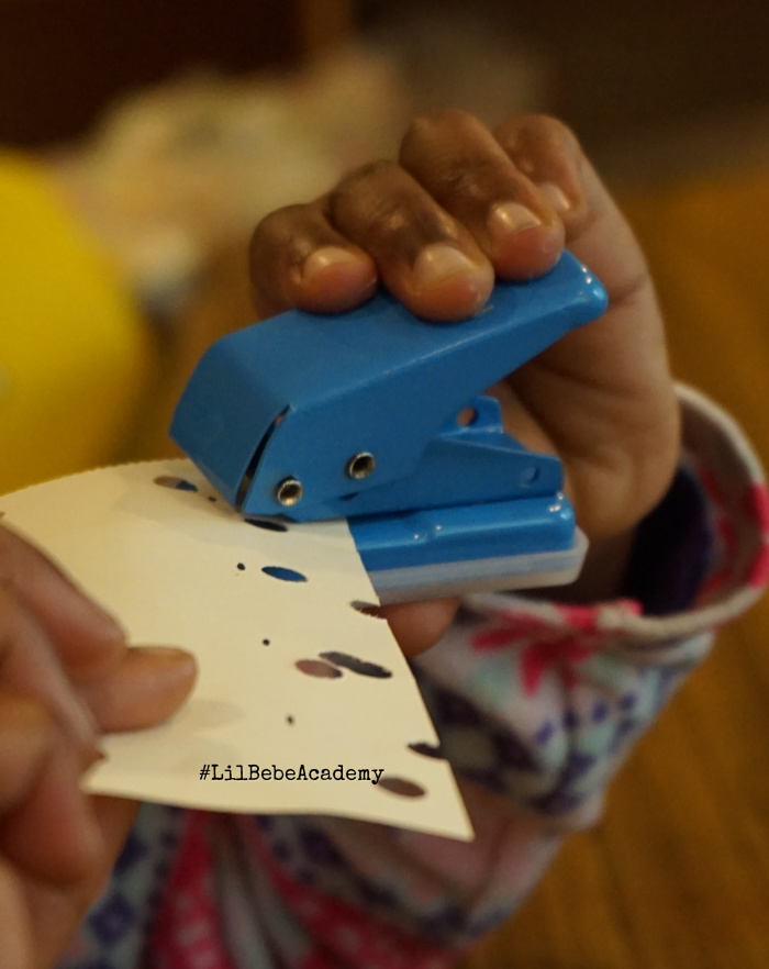 Using Punch Hole to aid Toddler and Preschool Fine Motor Skills